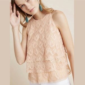 Anthropologie Size 10 Sleeveless Teared Lace Top